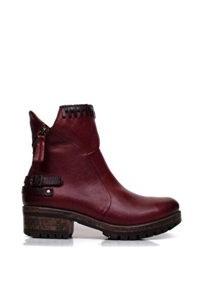 BUENO Shoes Fermuar Ve Kemerli Hakiki Deri Kadın Düz Bot 9m0105