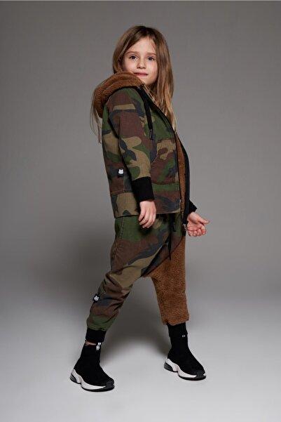 MonoKido Kız Çocuk Yeşil Bold Camo Asimetric - Sweat Pants