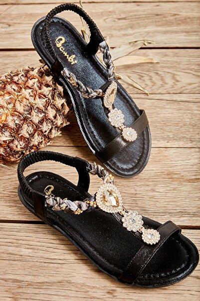 Bambi Sıyah Kadın Sandalet L0625011378