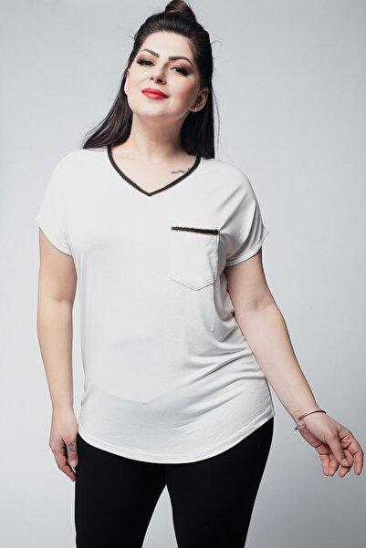 Ebsumu Kadın Büyük Beden Yaka Ve Cepleri Altın Şeritli V Yaka Beyaz Bluz