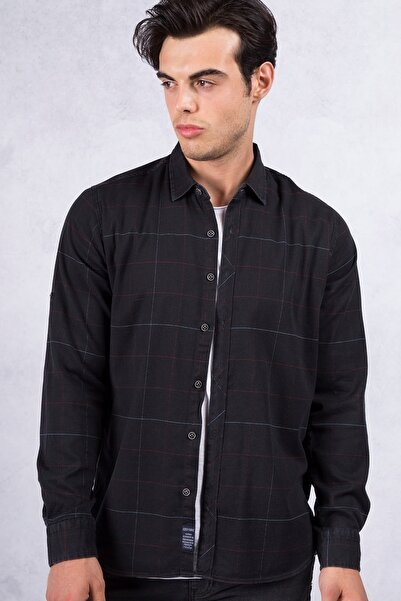 Twister Jeans Siyah Slimfit Kare Desen Erkek Gömlek