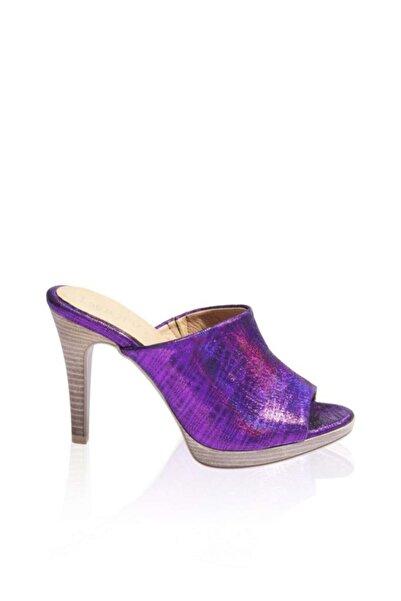 BUENO Shoes Önden Açık Hakiki Deri Topuklu Kadın Terlik 9n6900