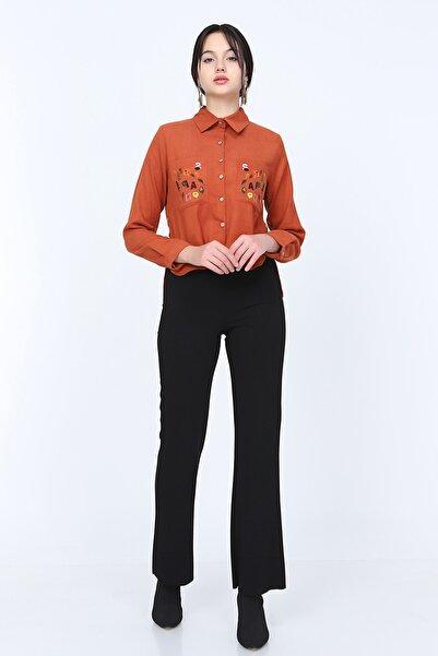 MD trend Kadın Bol Paça Likralı Pantolon/siyah/42