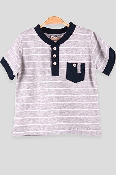 Breeze Erkek Bebek Tişört Çizgili Cepli Gri (1-2 Yaş)