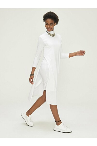 Xint Xınt Dik Yaka Çift Etekli Pamuklu Rahat Kesim Elbise
