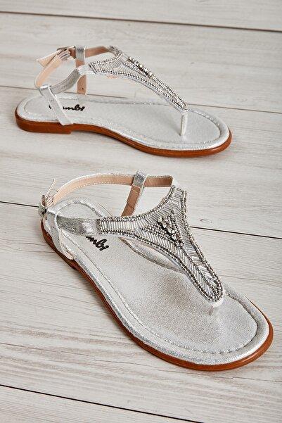 Bambi Gümüş Kadın Sandalet L0625020478