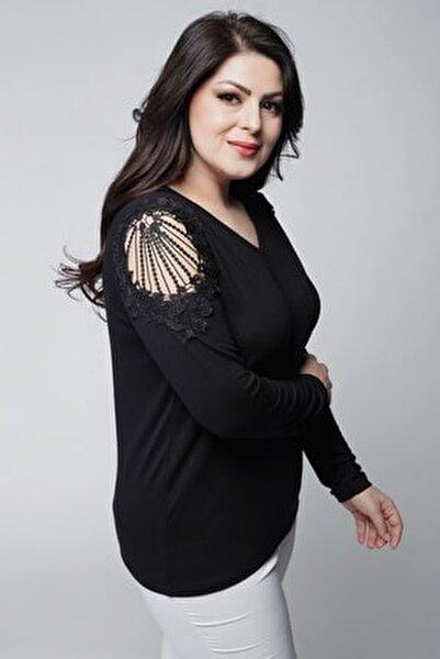Kadın Büyük Beden V Yaka Omuzları Nakış Detaylı Uzun Kollu Siyah Bluz