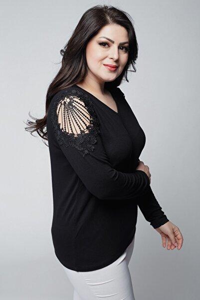 Ebsumu Kadın Büyük Beden V Yaka Omuzları Nakış Detaylı Uzun Kollu Siyah Bluz