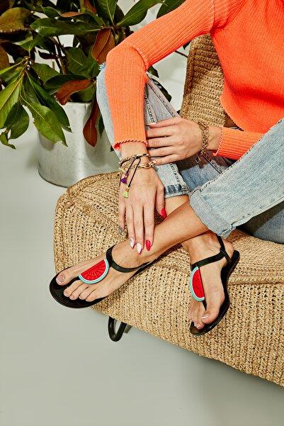 Bambi Sıyah/karpuz Kadın Sandalet L0500902199