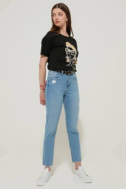 ZİNDİ Kadın Yüksek Bel Jeans Buz Mavi
