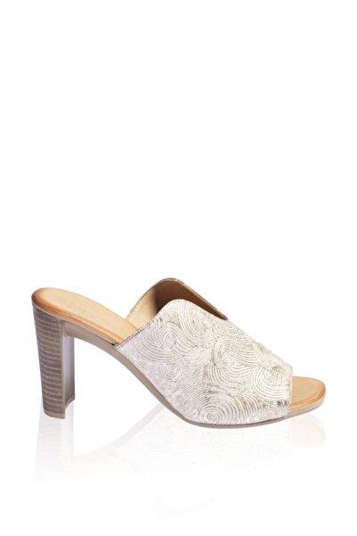 BUENO Shoes Desenli Hakiki Deri Topuklu Kadın Terlik 9n4105