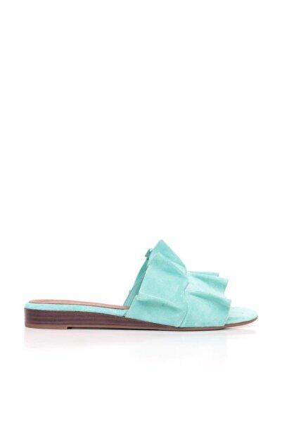 BUENO Shoes Kıvrım Detaylı Hakiki Deri Kadın Düz Terlik 9n1908