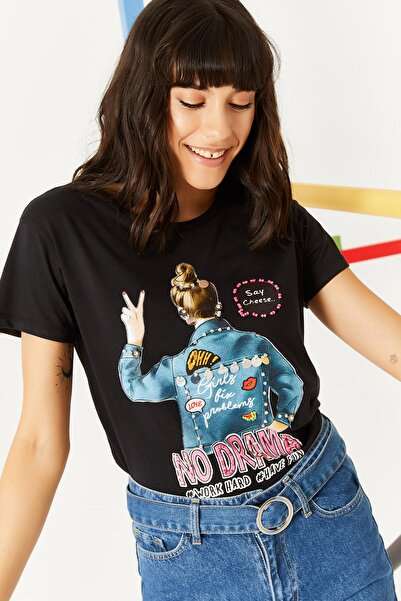 Lafaba Kadın Siyah Önü Baskılı Taş Işlemeli Kısa Kollu Basic T-shirt