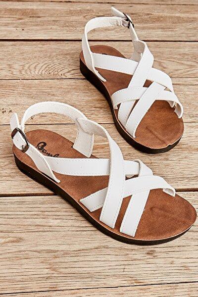 Bambi Beyaz Kadın Sandalet L0642111209