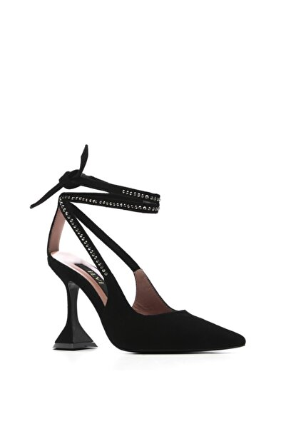 İLVİ Riga Bayan Topuklu Sandalet Siyah Süet