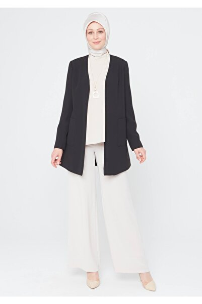Setrms Krep Kumaş Yakasız Blazer Ceket