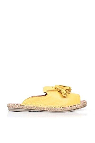 BUENO Shoes Püskül Detaylı Hakiki Deri Kadın Düz Terlik 9j0311