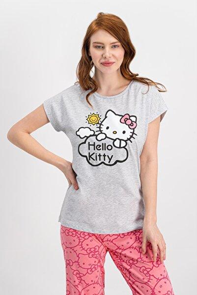 Hello Kitty Lisanslı Karmelanj Kısa Kollu Kadın Pijama Takımı