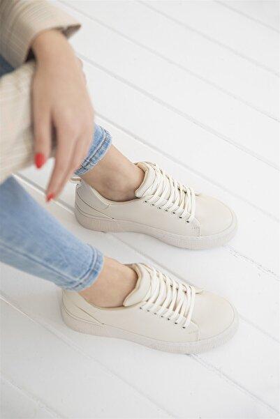STRASWANS Papel Bayan Deri Spor Ayakkabı Krem