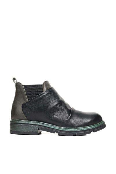 BUENO Shoes Lastikli Önü Büzgülü Hakiki Deri Kadın Düz Bot 9p2600