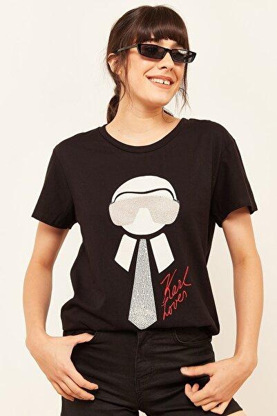 Lafaba Kadın Siyah Taşlı Ve Baskılı T-shirt