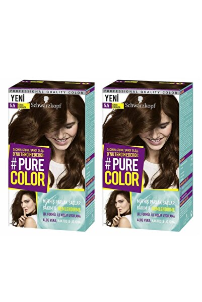 SCHWARZKOPF HAIR MASCARA Schwarzkopf Pure Color 5-5 Sıcak Çikolata X2