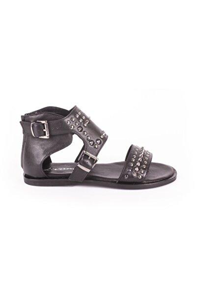 DİVUM Siyah Deri Sandalet