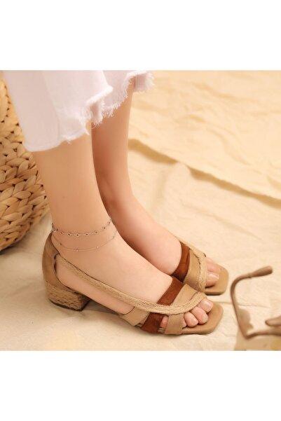 Mammamia Kum Ten Taba Süet Hasırlı Alçak Topuklu Sandalet