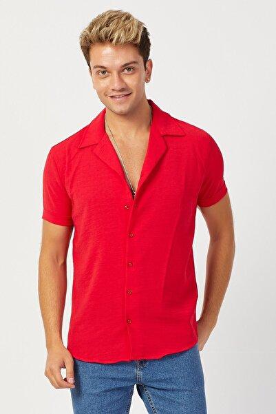 Karpefingo Erkek Pamuk Keten Kısa Kol Kırmızı Gömlek
