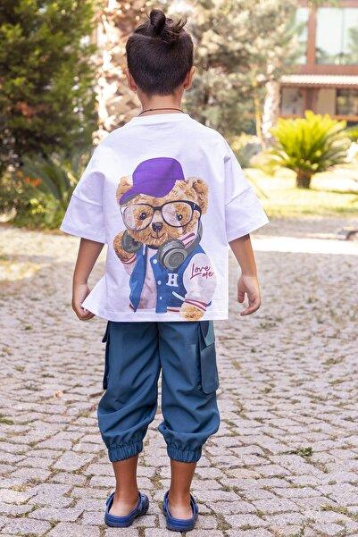 hoQuspoQus Erkek Çocuk Ikili Takım (T-shirt - Kargo Pantolon) Petrol