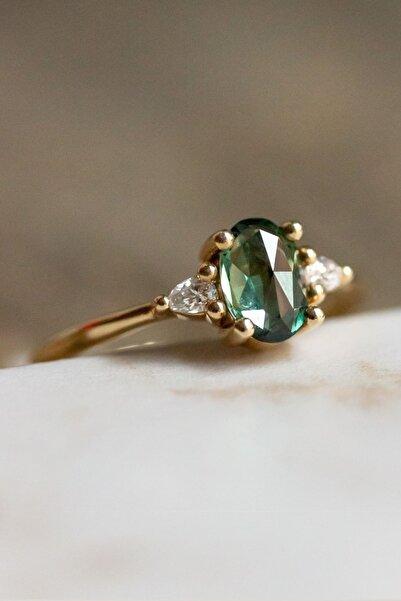 My Diamond Yeşil Safir Taşlı Damla Pırlantalı Yüzük 14 Ayar Sarı Altın