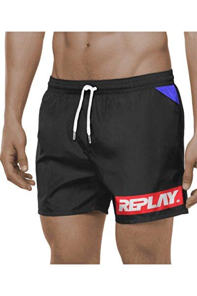 Replay Erkek Siyah Boxer Beachwear Fabric Şort Mayo