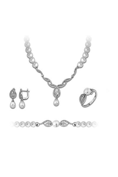 Chavin Inci Gümüş Kolye Küpe Bileklik Yüzük Takım Set Ee08