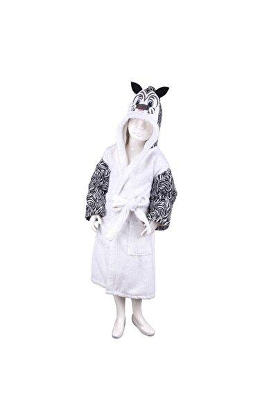 Minteks Safarı Cocuk Bornozu - Zebra Beyaz 7-12