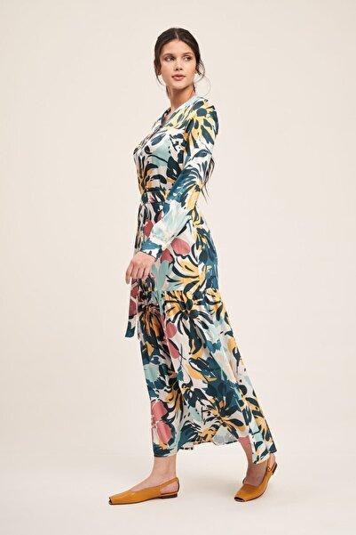 Mizalle Düğmeli Çiçek Desenli Elbise (Renkli)