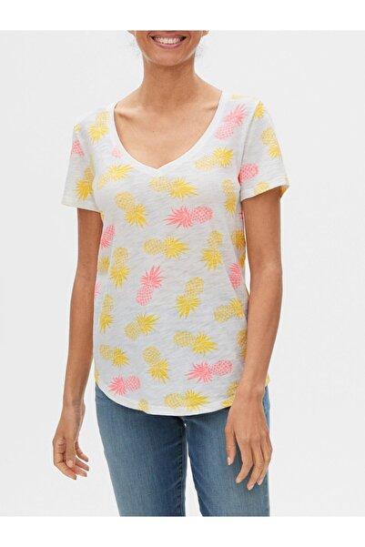 GAP Desenli V Yaka T-shirt
