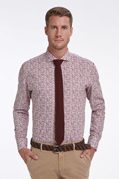 Hemington Italyan Yaka Desenli Bordo Business Gömlek