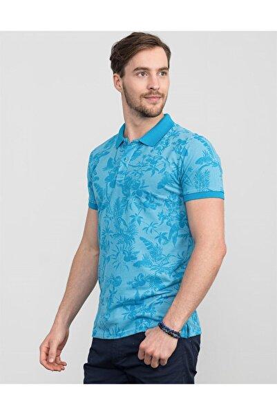 Tudors Slim Fit Çiçek Desenli Polo Yaka Erkek T-shirt