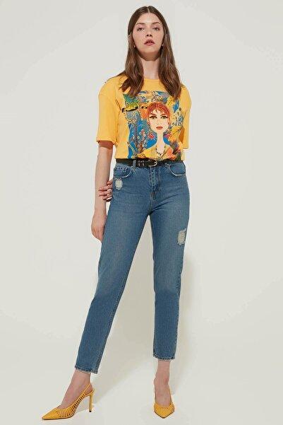 ZİNDİ Kadın Yüksek Bel Jeans Mavi