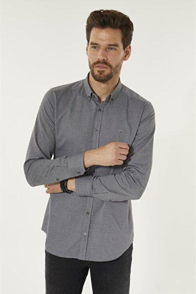 Avva Erkek Antrasit Baskılı Düğmeli Yaka Slim Fit Gömlek A92s2245