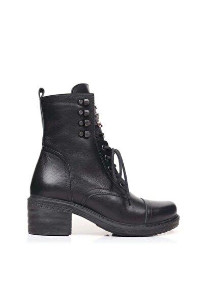 BUENO Shoes Bağcık Ve Troklu Hakiki Deri Kadın Topuklu Bot 9p2901