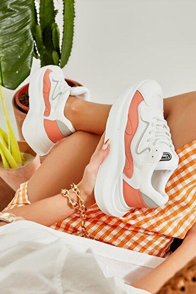 Bambi Beyaz/seftali Kadın Sneaker L0601020822