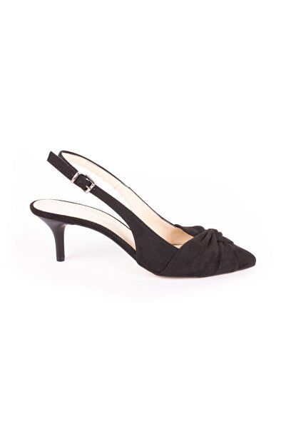 DİVUM Siyah Süet Topuklu Ayakkabı