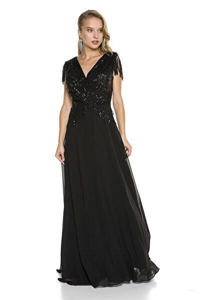 Abiye Sarayı Siyah Büyük Beden Üstü Payet Altı Şifon Püskül Detaylı Abiye Elbise