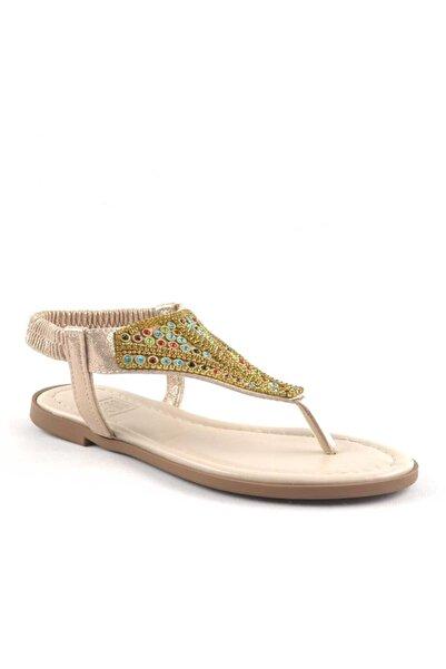 Shoes Center Gold Etnik Taşlı Lastikli Parmak Arası Kadın Sandalet