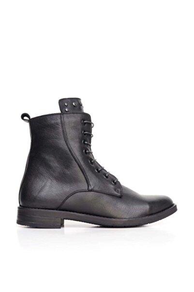 BUENO Shoes Troklu Ve Bağcıklı Hakiki Deri Kadın Düz Bot 9p0220