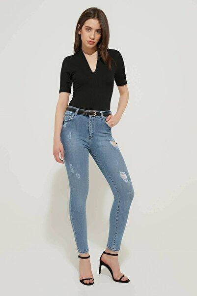 ZİNDİ Kadın Yüksek Bel Yırtık Skinyy Jeans Buz Mavi