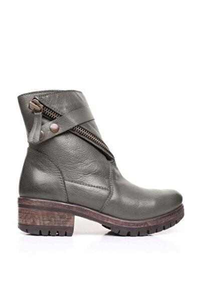 BUENO Shoes Çıt Çıt Detaylı Hakiki Deri Kadın Düz Bot 9k0700