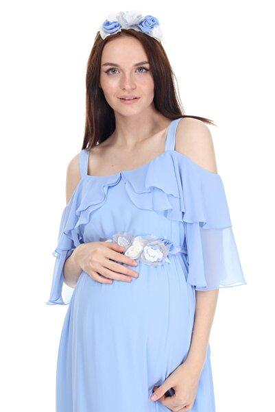 Entarim Hamile Baby Shower Elbisesi Maxi 6021düz-2