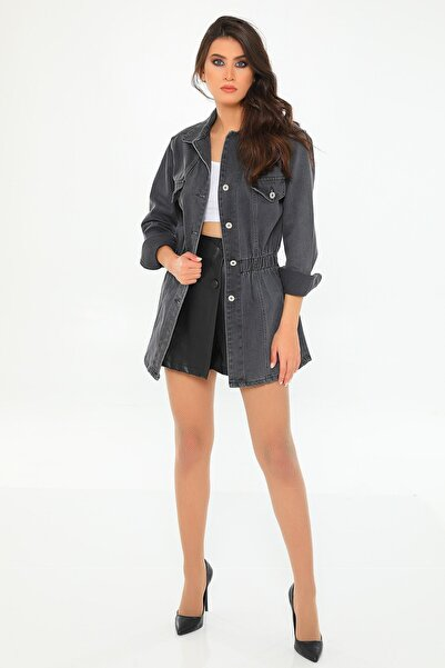julude Kadın Antrasit Bel Lastikli Düğmeli Jean Ceket